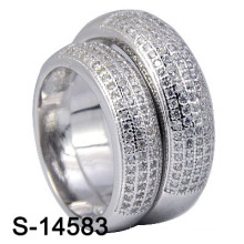 925 Sterling Silver Pave Micro Rings for Couple (S-14583)